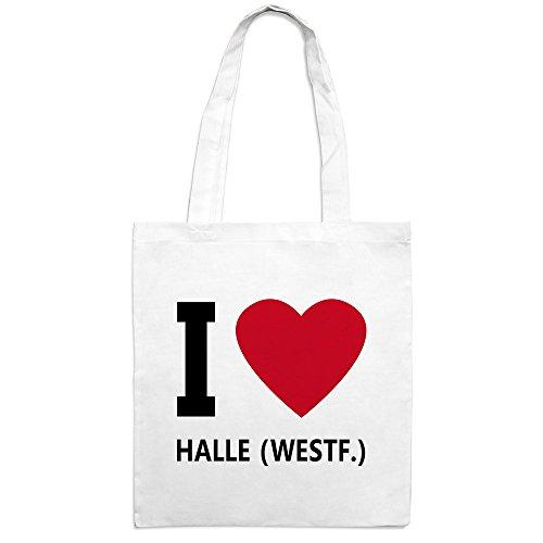 Jutebeutel mit Stadtnamen Halle (Westf.) - Motiv I Love - Farbe weiß - Stoffbeutel, Jutesack, Hipster, Beutel
