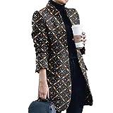 ZFQQ Cappotto di Lana con Colletto alla Coreana Stampato Moda Autunno e Inverno da Donna
