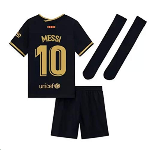 2020-2021 Season Kids/Youths Away Soccer Jersey/Short/Socks Colour Black (Barcelona Messi #10(4-5years/size18))