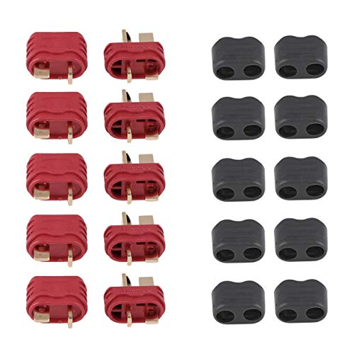 Innovateking 20 Pcs Upgraded T Plug Connectors Deans Style with Protection Cover for RC LiPo Battery Motor ESC Controller of RC Car Plane (10 Male Connectors and 10 Female Connectors)