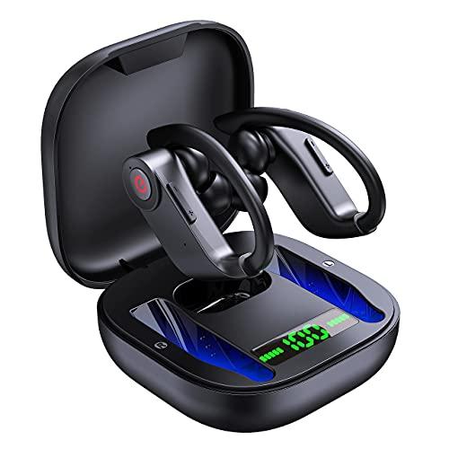 Sport Bluetooth Kopfhörer, Kabellose Sportkopfhörer Noise Cancelling In Ear Wireless Ohrhörer mit Ladebox und Mikrofon, IPX7, 40 Stunden Spielzeit Earbuds, LED Anzeige, Fitness für Laufen Training