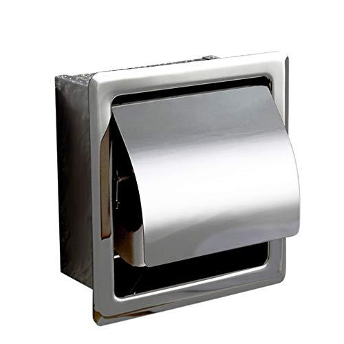 Toilettenpapierhalter aus Edelstahl, verdeckter Papierspender für gewerbliche Hotels, Badezimmer, Garderobe, poliertes Chrom, Wandmontage, wasserdicht