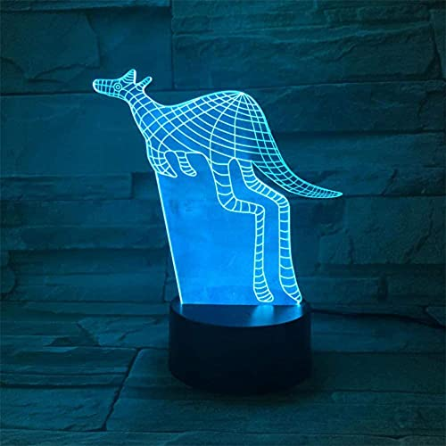 3D Night Light, Optical Illusion Animal Kangaroo Bedside Lamp 16 Colors Changing Remote Control Death Model Creative Bedroom Decor Best Birthday Gift Cool Idea