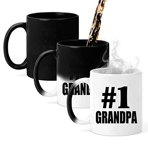 Number One #1 Grandpa - 11oz Color Changing Mug Magic Tea-Cup Heat Sensitive - Idea for Friend Colleague Retirement Graduation Birthday Christmas Thanksgiving Anniversary