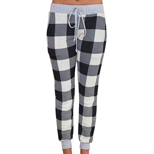 MOKAO Womens Burgundy Plaid Pajama Jogger Pant With Heather Grey Contrast Casual Comfy Soft Stretch Plaid Lounge Pants (Gray, M)