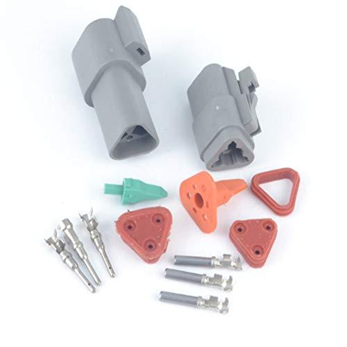Tutoy Connecteur Deutsch 3 Broches fiche mâle Femelle Kit Terminal 16-20 AWG Contacts Solides