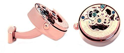 Unbekannt Uhren Manschettenknöpfe Uhrwerk Edelstahl beweglich in rosévergoldet mit Besonderheit!! ohne Batterie - edles Herrenaccessoire zum Thema Uhr! + schwarzer Exklusivbox