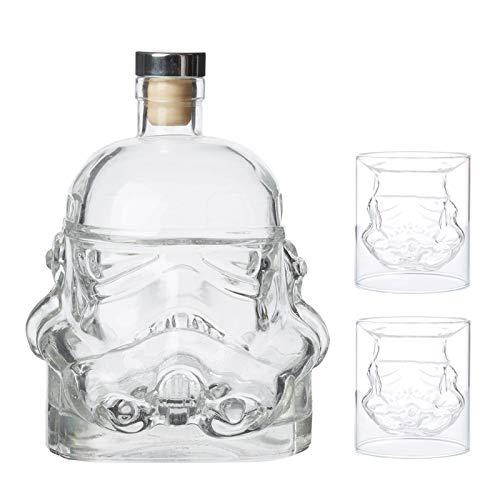 Juego De Jarra De Whisky, Decantador Vasos De Whiskey con Forma De Casco De Soldado De 750 Ml, 2 Licorera Cristal De Copa De Vino De 150 Ml, Decanter Botella para Agua Licor Vodka Wiski