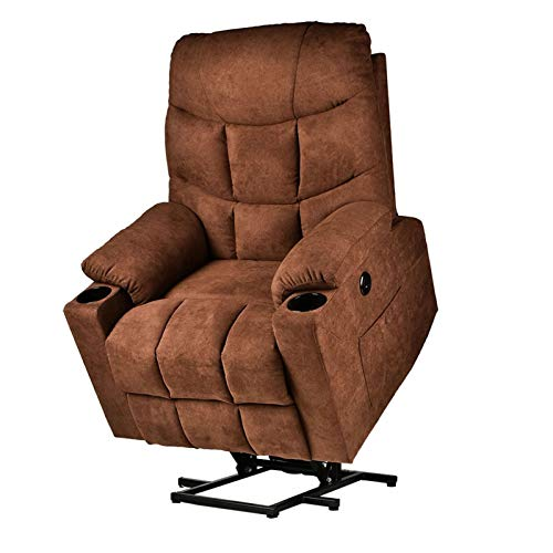 Power Lift Recliner Chair for Elderly with Massage and Heating, Fabric Cloth Lift Recliner Chair with Cup Holder for Living...