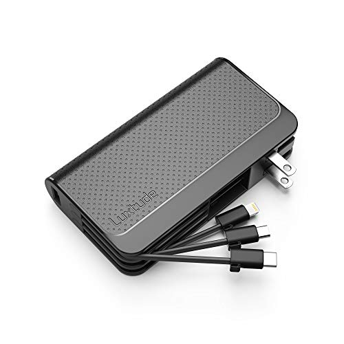 Luxtude Portable Charger for iPhone, 10000mAh Power Bank with Built-in Cables【iPhone Lightning & USB C & Micro】& 15W Wall Plug Travel Charger, USB C Power Bank for iPhone, iPad, Android, Samsung etc.
