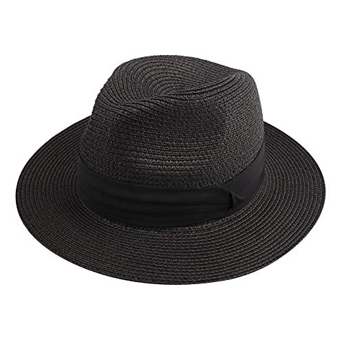 Dreshow - Cappello da donna a tesa larga in paglia Fedora, stile panama, da spiaggia, UPF 50 + Fedora Black Taglia unica