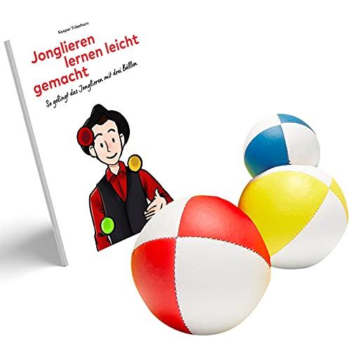 Jonglierbälle mit Jonglierbroschüre. Jonglieren Lernen leicht gemacht. Farbige Broschüre mit 3 Guten Jonglierbällen mit Naturfüllung