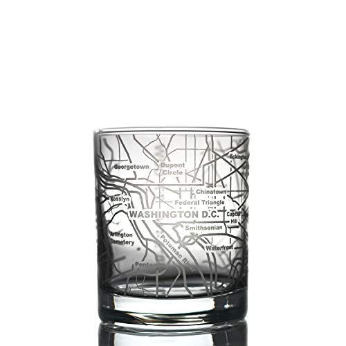 Greenline Goods Whiskey Glasses - 10 Oz Tumbler for Washington DC Lovers (Single Glass)   Etched with Washington DC Map   Old Fashioned Rocks Glass