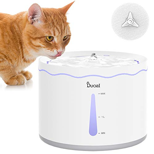 Duoai Cat Water Fountain,60 oz/1.8L Automatic Dog Water Fountain with Replacement Filters.Quiet Water Pet Dispenser,Intelligent Pump with LED Indicator for Water Shortage Alert