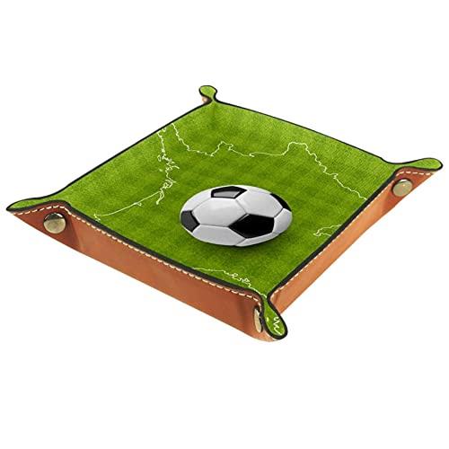 Bandeja de PU Cuero, Almacenamiento Organizador para Joyas, Caja Relojes, Cartera, Moneda,Llaves, Monedas, Teléfonos Un balón de fútbol en un mapa delineado Francia