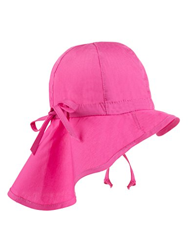MaxiMo - Hut Mit Nackenschutz, Tunnelzug, Upf 30+, Cappello da bambine e ragazze, Rosso (fuchsia 57), taglia produttore: 47