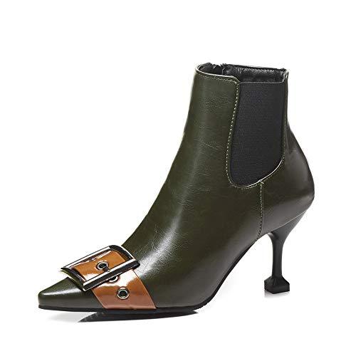 DENGSHENG SHOPS High Heel Frauen Herbst und Winter Plüsch Gürtelschnalle Reißverschluss Damen Stiefel wies Kurze Stiefel Größe Code 34-43