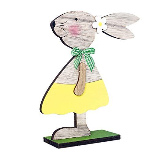 Homemarke Osterdekorationen Holzhase/Eier mit Fliege, süßes stehendes Kaninchen/Eier Osterholz Bastelspielzeug Geschenke Ornamente für Home Party Tischplatte(D 02)