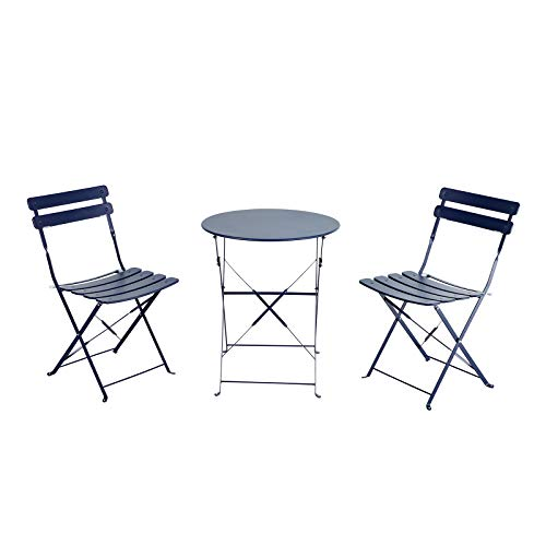 OC Orange-Casual 3-Piece Outdoor Furniture Set, Premium Steel Patio Stripe Small Bistro Set, Folding Dining Table and Chairs for Porch Balcony, Navy Blue