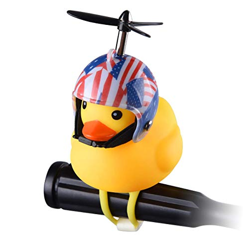 Jackky Duck Bike Bell for Kid, Squeeze Horn Loud Quack Sound, Cycling Light Cute Rubber Duck Toy for Toddler Kids Girls Boys Adult (Flag)