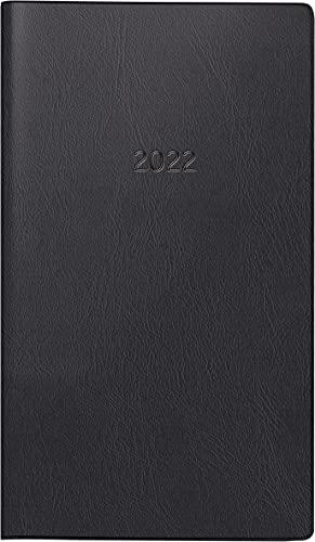 BRUNNEN 1075328902 Taschenkalender/Monats-Sichtkalender Modell 753, 2 Seiten = 1 Monat, 8,7 x 15,3 cm, Kunststoff-Einband schwarz, Kalendarium 2022