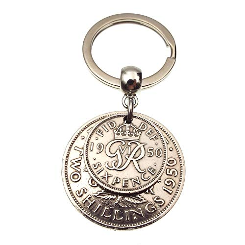A Silver Dream 1950 Two and Six Double Coins Keyring 70th Birthday Gift in 2020