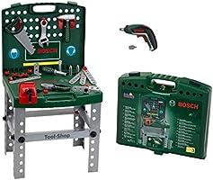 Theo Klein 8676 Banco de trabajo Bosch, Con destornillador eléctrico Ixolino de Bosch a pilas, Plegable y fácil de...