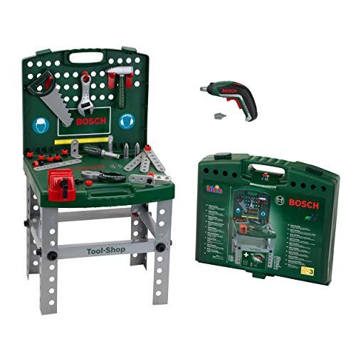 Theo Klein 8676 Banco de trabajo Bosch, Con destornillador eléctrico Ixolino de...