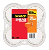 "Scotch Long Lasting Storage Packaging Tape, 1.88"" x 54.6 yd, Designed for Storage and Packing, Clear to the Core, 3"" Core, Clear, 4 Rolls (3650-4)"