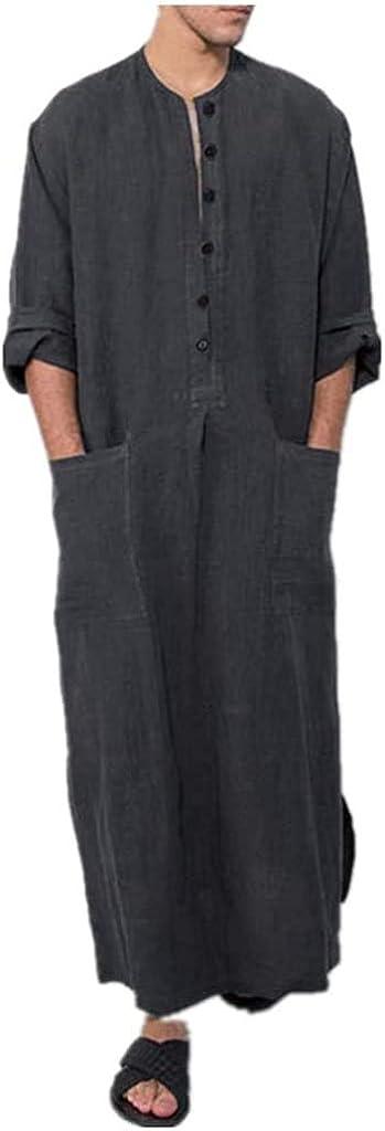 Men's Muslim Dresses Long Sleeve Striped Henley Shirts Kaftan Muslim Long Gown Thobe Robe for Men