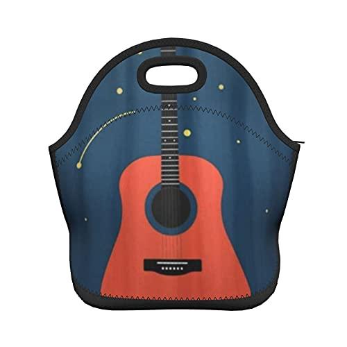 ADONINELP Bolsa de almuerzo con aislamiento para mujeres y hombres, guitarra acústica contra el cielo estrellado, bolso de mano con aislamiento térmico resistente al agua, lonchera, enfriador de alim