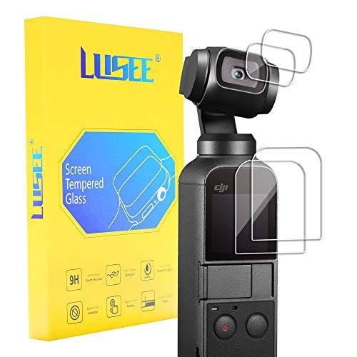 Lusee 【2 Pezzi Vetro Temperato Pellicola Protettiva + 2 Pezzi Pellicola Fotocamera Protezione Schermo Vetro Temperato per DJI Osmo Pocket Film Ultra-Duro Vetro 9H