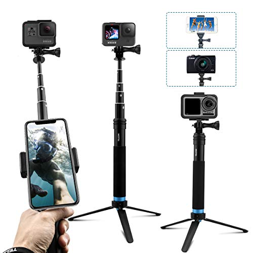 TELESIN Trípode impermeable para selfies con barra de aleación de aluminio ajustable, monopié de extensión de mano con clip giratorio y soporte para trípode para GoPro Hero 9/8/7/6/5 DJI Osmo