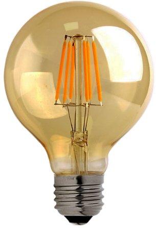 Bulbright G80 Gold getönt LED Glühbirne E27 Edison Lampe ersetzt 80 Watt, 8W, 800 Lumen, 2200K warmweiß, LED Kerzen Filament Fadenlampe, 220V AC, für Hängelampe Wandleuchte Pendelleuchte 1 Pack (8.1)
