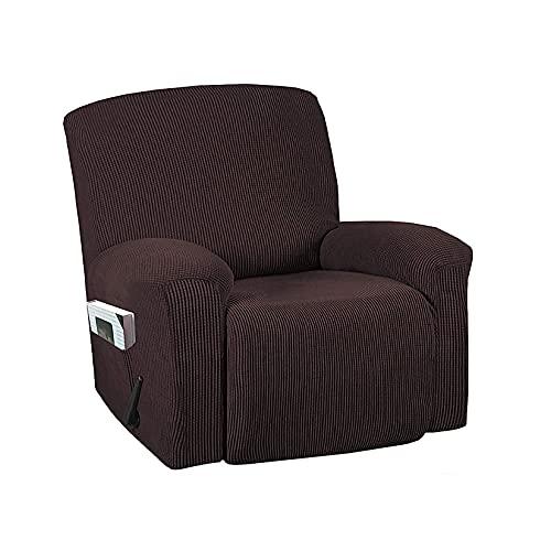 HUANXA Elástico Jacquard Fundas De Sofá para 1 2 3 Seater Chaise Longue Sillón Sofá, Universal Funda De Sofá Reclinable Protector De Muebles con Fondo Elástico-Marrón Claro-1 Plazas(4pcs)