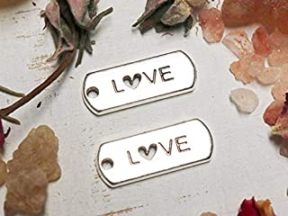Jewelry Making Made Easy 10 Love Charm, tag Charms, Cute tag Charms, Rectangle Charms, Silver Word Charms, Affirmation Charms, Wholesale Charms, Antique Silver,