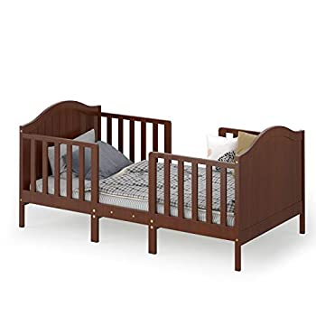 Costzon 2 in 1 Convertible Toddler Bed Classic Wood Kids Bed w/2 Side Guardrails Headboard Footboard for Extra Safety Children Bed Frame Convert to Two Chairs/Sofa/Cribs Gift for Boy Girl  Brown