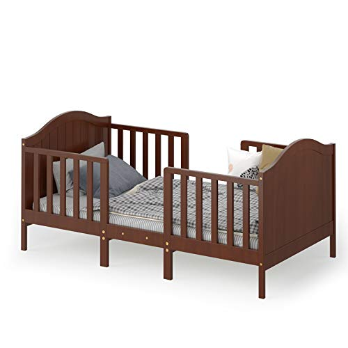 Costzon 2 in 1 Convertible Toddler Bed, Classic Wood Kids Bed w/2 Side Guardrails, Headboard, Footboard for Extra Safety, Children Bed Frame Convert to Two Chairs/Sofa/Cribs, Gift for Boy Girl (Brown)
