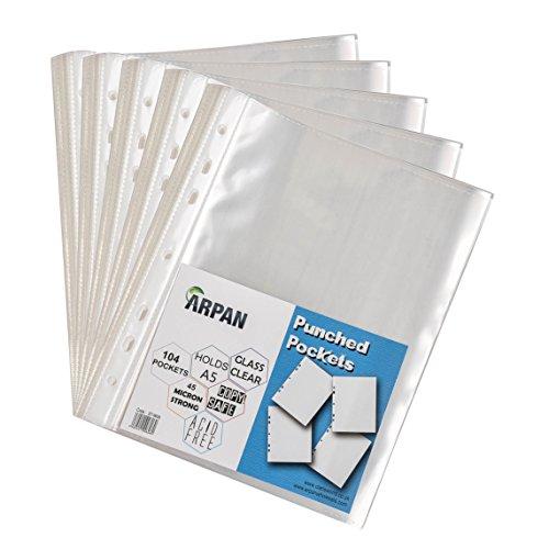 Arpan - Buste perforate per documenti, formato A5, trasparenti, 104 x 5 pezzi