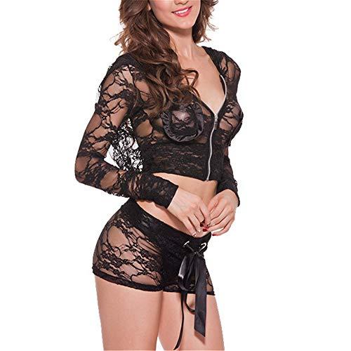 Chunmei Damen Erotic Dessous Set Sexy Reißverschluss Spitze Transperant mit String...