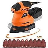 【Christmas Selection】Detail Sander, TACKLIFE Multi-Sander 200W with 360°Rotating Sanding Base Plate, Efficient Dust