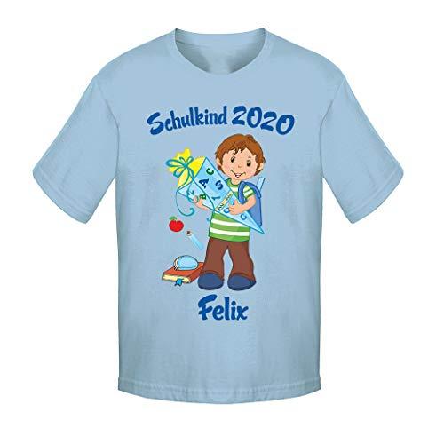 Mein Zwergenland T-Shirt Unisex Schulanfang Schulkind 2020 Junge, SkyBlue Gr. 4 Jahre (96-104)