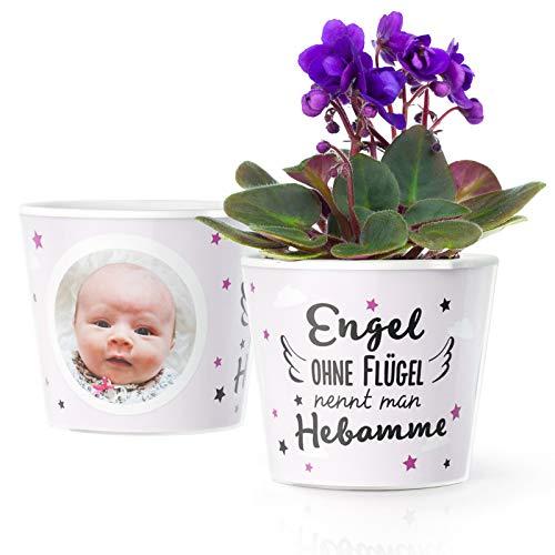 Facepot Hebamme Geschenk Blumentopf (ø16cm) | Geschenke für Hebammen als Danksagung nach Geburt mit Bilderrahmen für 2 Fotos (10x15cm) | Engel Ohne Flügel nennt Man Hebamme