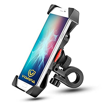 visnfa New Bike Phone Mount Anti Shake and Stable 360° Rotation Bike Accessories for Any Smartphone GPS Other Devices Between 3.5 and 6.5 inches (Black) by visnfa