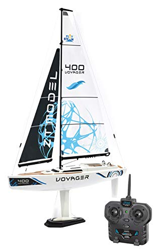"""PLAYSTEAM Voyager 400 RC Controlled Wind Powered Sailboat in Blue - 21"""" Tall"""