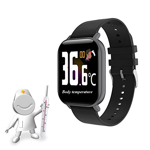 TZH Temperaturmessung Smart Watch, Multifunktions-Fitness-Tracker mit abnormalem Temperaturalarm, Herzfrequenz-Blutdruckmessgerät Sport-Armbanduhr,Schwarz
