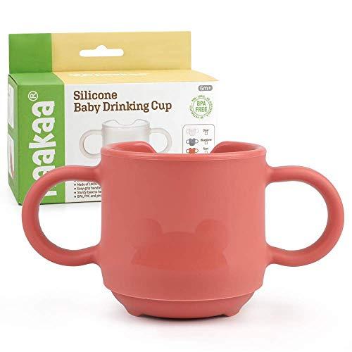 Haakaa Vasos de Entrenamiento con Asas , Taza de Aprendizaje de Silicona para Niños Pequeños , sin BPA 150 ml, Color Rojo