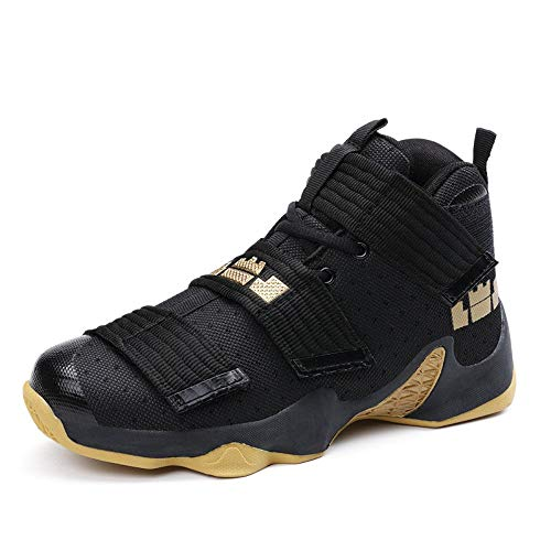 High Elasticity, Spring and Summer Basketball Shoes, High Tidal Height Wear-Resistant Casual Couple Shoes, Breathable Lightweight Sports Men's Shoes, Black Gold, 44