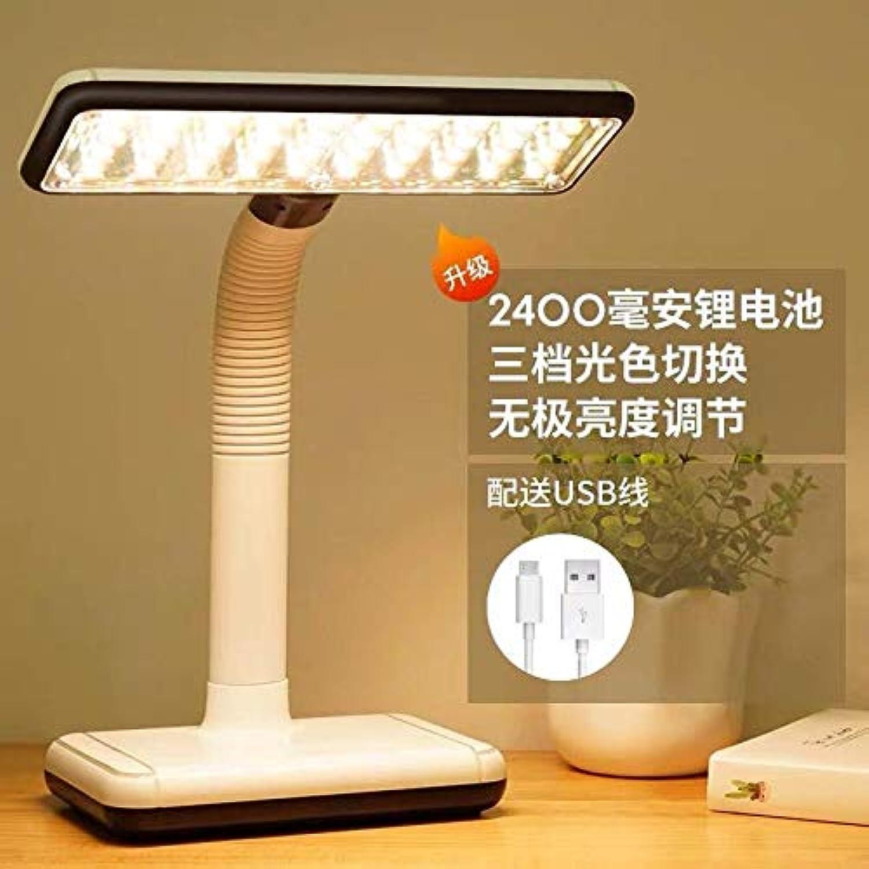 Schreibtischlampe Augenschutz Schreibtisch wiederaufladbare LED-Schreibtischlampe, [Mit USB-Ladekabel] Dreistufiges farblich abgestimmtes elektrodenloses Dimmen 2400 mA, Dimmschalter