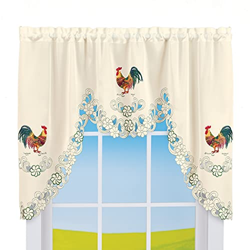 Collections Etc Rooster Embroidered Kitchen Window Curtains